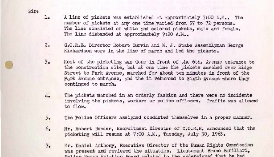 thumbnail of Newark Police Memo on CORE Demonstrations at Barringer (July 29, 1963)