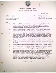 Police report submitted on July 29, 1963 regarding demonstrations at the Barringer High School construction site to protest hiring discrimination in the building and construction trades in Newark against Blacks and Puerto Ricans.  -- Credit: NJ State Archives