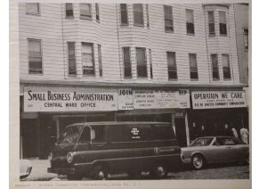 The offices of Operation We Care (UCC Area Board #2) and the Small Business Administration program on Springfield Avenue in the Central Ward. -- Credit: Newark Public Library