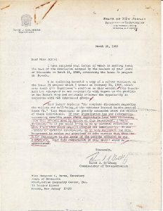 Correspondence between Margaret Burns (Presbyterian Community Center), David J. Goldberg (NJ Commissioner of Transportation), Aaron Lambert, (Dept. of Housing and Urban Development), and James Hyde (NJ Dept. of Transportation) regarding the planning and construction processes for Route 75 in Newark. Also included in the correspondence is a Feb. 24, 1969 policy statement from Commissioner Goldberg regarding the suspension of property acquisitions for the development of Route 75.