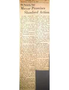 """Clipping from an unmarked newspaper covering Mayor Addonizio's """"inspection tour of 'slum pockets"""" in Central Ward and Clinton Hill neighborhoods. Addonizio was prompted to personally inspect housing conditions after the Clinton Hill Neighborhood Council and Newark Community Union Project held rent strike demonstrations in the city that week. -- Credit: Newark Public Library"""