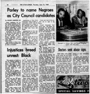 Article from the Star-Ledger on June 13, 1968 covering a political convention to be held by the United Brothers for the purpose of nominating candidates to run for City Council positions.