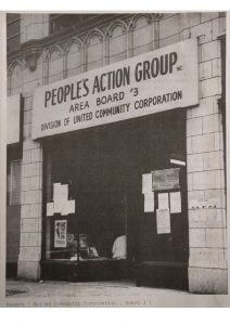 The office of the People's Action Group at 471 Clinton Avenue in Newark. The People's Action Group was the name of Area Board #3 of the United Community Corporation (UCC). -- Credit: Newark Public Library