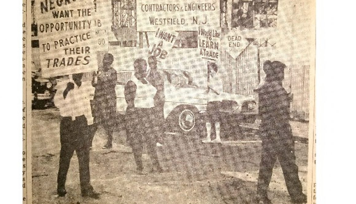thumbnail of Photo of Picketers at Barringer (Newark Evening News, July 3, 1963)