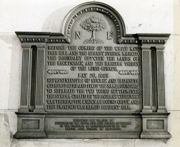 Plaque, settlement of Newark