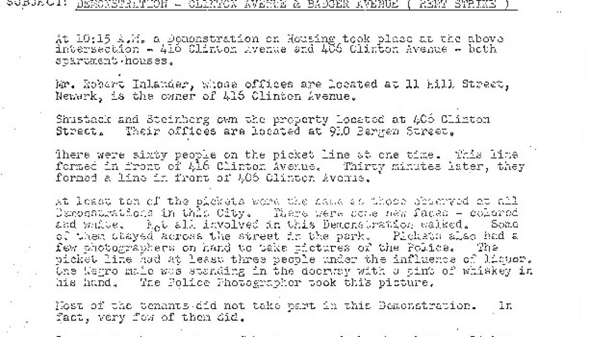 thumbnail of Police Memo- Clinton Ave Rent Strike Demonstration (Aug 17, 1964)