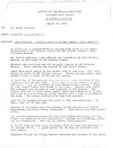 """Memorandum from the Newark Police Department detailing their surveillance of a rent strike demonstration at the corner of Clinton and Badger Avenues. The demonstrations were organized to support a rent strike by tenants to protest """"rats, roaches, and ridiculous rents."""" A rent strike was a tactic used by tenants to force a landlord to make repairs to a housing unit by witholding rent payment until repairs were made.  -- Credit: Junius Williams Papers"""