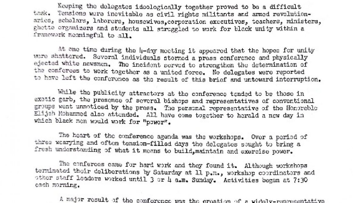 thumbnail of Press Release July 24, 1967- Conference Pojects New Directions
