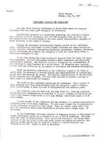 Press release from organizers of the National Conference on Black Power providing a summary and analysis of the four day conference in Newark. The Black Power Conference began just days after the 1967 Newark Rebellion had come to a close and brought a wide array of national Civil Rights and Black Power leaders to Newark. -- Credit: Newark Public Library