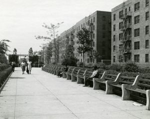 A view from the sidewalk of the Prudential Apartments in Newark. Many of the city's middle-to-upper-class African American residents, including politicians, musicians, and athletes, lived here. -- Credit: WPA Photographs, New Jersey State Archives