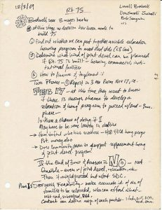 Notes from Washington, D.C. activist R.H. Booker on strategies and tactics for fighting the development of Route 75 in Newark. Route 75, an eight lane highway planned to run North to South, would have cut the Central Ward in half and displaced thousands of Black and Puerto Rican residents.
