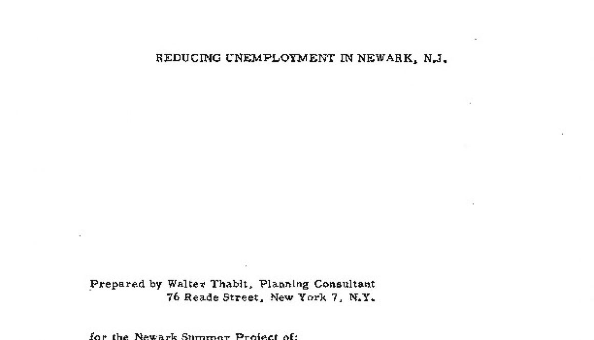 thumbnail of Report- Reducing Unemployment in Newark, NJ (Aug. 15, 1964)-ilovepdf-compressed