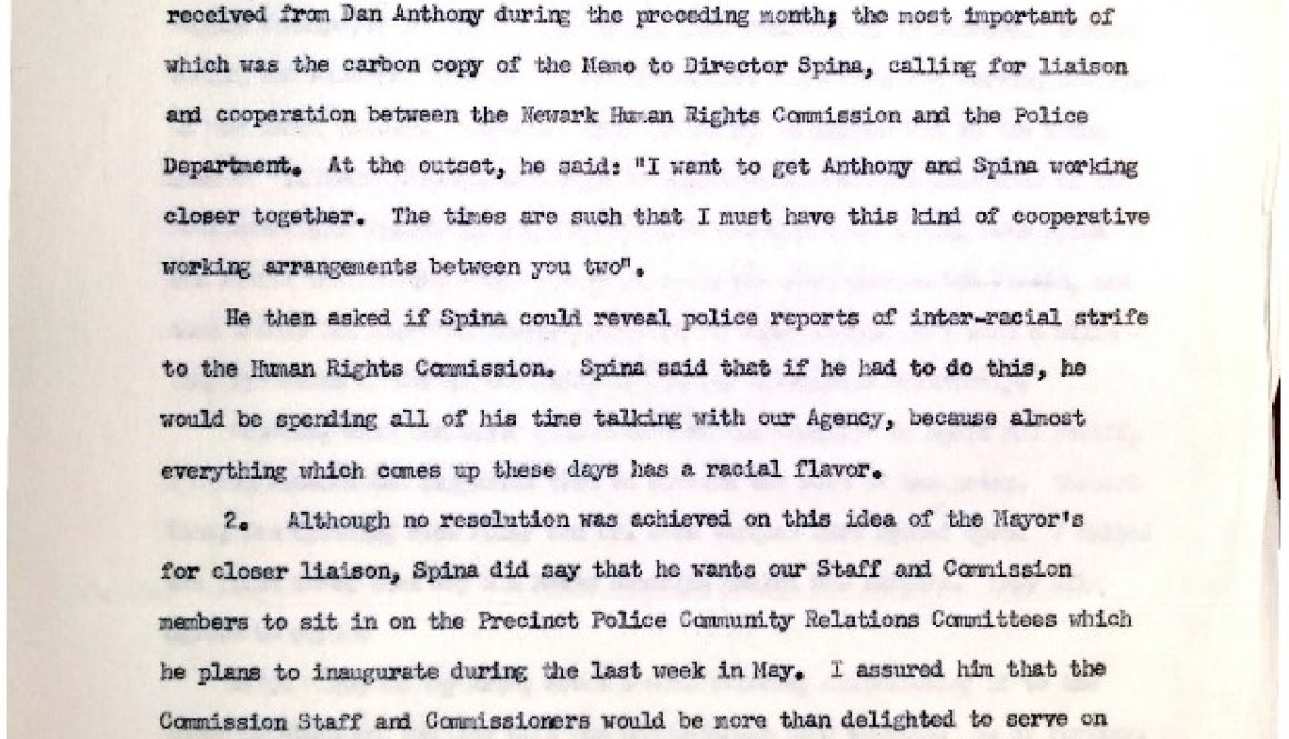 thumbnail of Report on Conference Called by Mayor Addonizio- Police Advisory Board (May 22, 1963) (1)