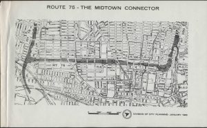 "Map of the proposed Route 75 ""Midtown Connector"" highway in Newark, prepared by the Division of City Planning. Highway construction in northern urban areas has historically involved the destruction of predominantly Black communities for the benefit of predominantly white suburban commuters. Route 75 was one of the most heavily-contested commuter highway proposals in Newark. Despite years of opposition from Black and Puerto Rican communities in Newark, city officials continued to push forward with plans for the highway's construction, before finally abandoning the project."