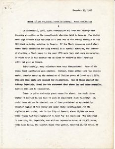 Statement prepared by Junius Williams, head of the Newark Area Planning Association (NAPA), explaining the political implications of the planned Route 75 construction on the 1970 mayoral election. Route 75, an eight lane highway planned to run North to South, would have cut the Central Ward in half and displaced thousands of Black and Puerto Rican residents, thereby eliminating them from the voting rolls of the Central Ward.