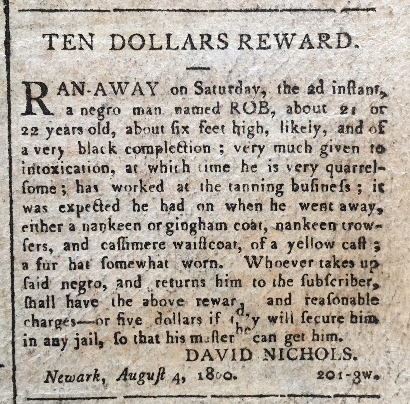 Runaway Slave Advertisement
