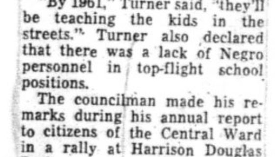 Schools Hit by Turner (July 11, 1956)