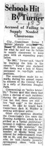 Clipping from an unmarked newspaper on July 11, 1956, reporting on Councilman Irvine Turner's criticism of the condition of Newark's public schools. -- Credit: Newark Public Library