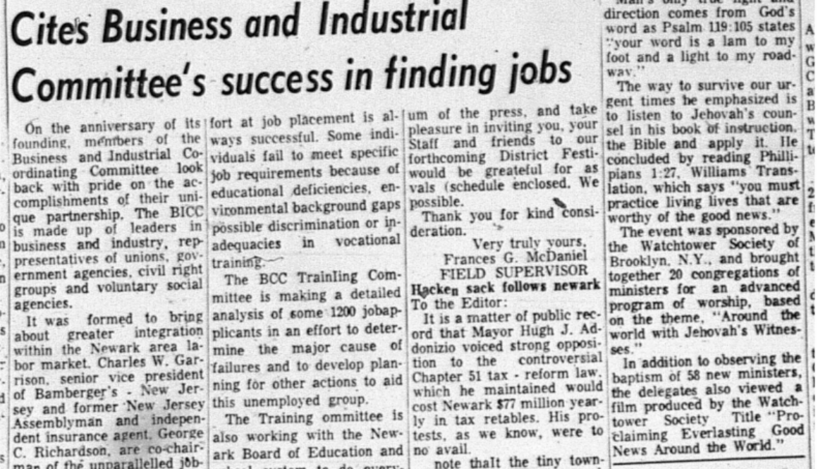 Cites Business and Industrial Committee's Success in Finding Jobs (NJ Afro-American, August 29,1964