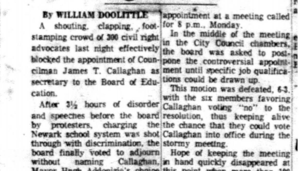 Protestors Delay Callaghan Action (Newark Evening News May 24, 1967)