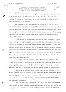 "Transcript of address given by Governor Richard J. Hughes to the Governor's Select Commission for the Study of Civil Disorder in New Jersey on August 8, 1967. The Commission was convened by Governor Hughes to study ""the causes, the incidents, and the remedies"" for the 1967 Newark rebellion. The Governor's Commission, also known as the Lilley Commission after its chair Robert Lilley, held months of hearings from Newark residents and later published its findings in Report for Action. -- Credit: New Jersey State Archives"