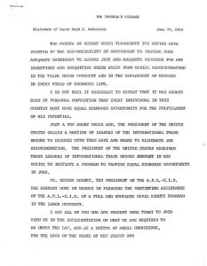Public statement issued by Mayor Addonizio on June 27, 1963, in which he addresses employment discrimination in the building and construction industries and offers a set of recommendations to address employment discrimination in the city. Addonizio's statement was issued in response to threats by the Newark Coordinating Council to picket city construction projects to protest hiring discrimination in the building and construction trades against Blacks and Puerto Ricans. -- Credit: Newark Public Library