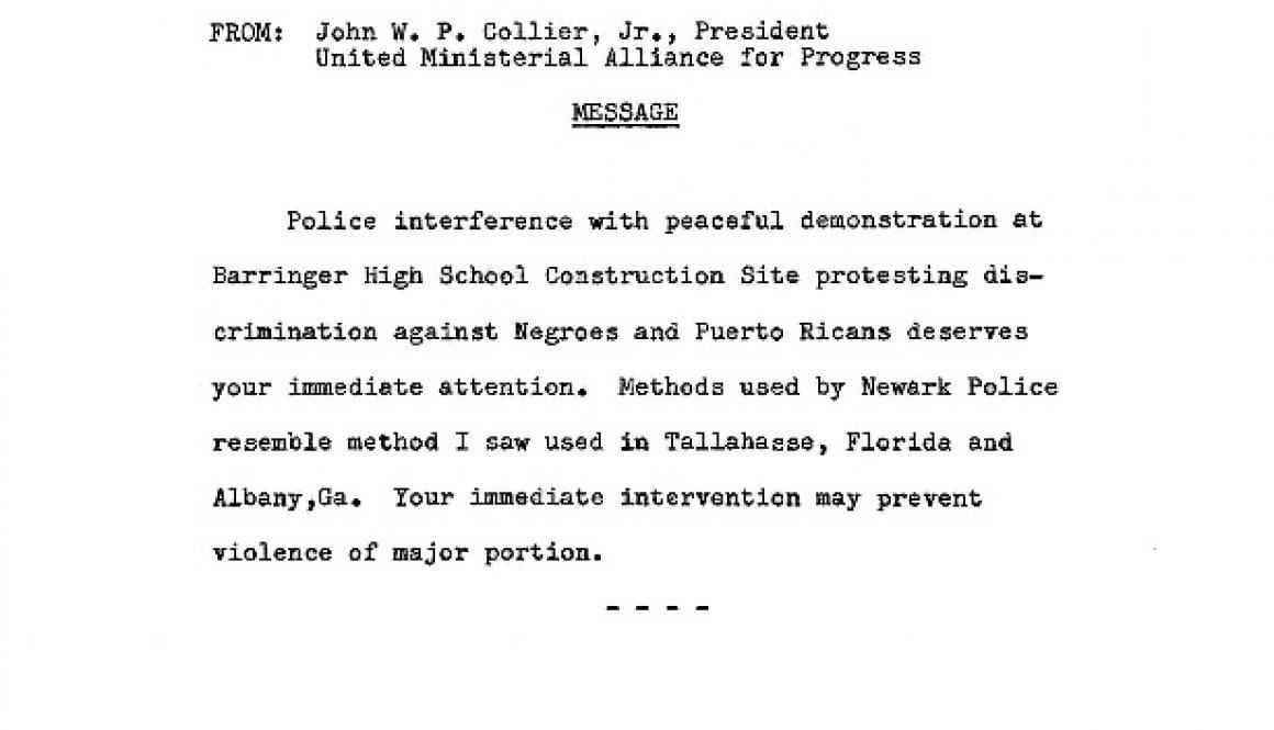 thumbnail of Telegram from John Collier to JFK, RFK, Gov. Hughes, Arthur Sills, and Mayor Addonizio