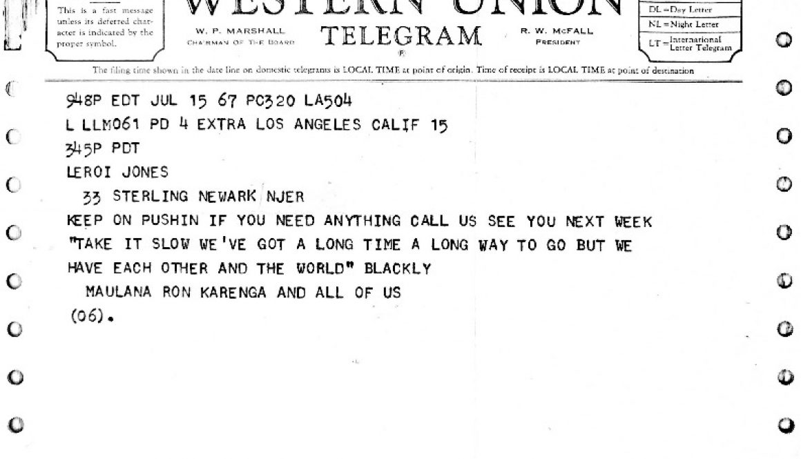 thumbnail of Telegram from Ron Karenga to LeRoi Jones (July 15, 1967)