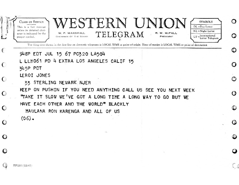 Telegram from Ron Karenga to LeRoi Jones