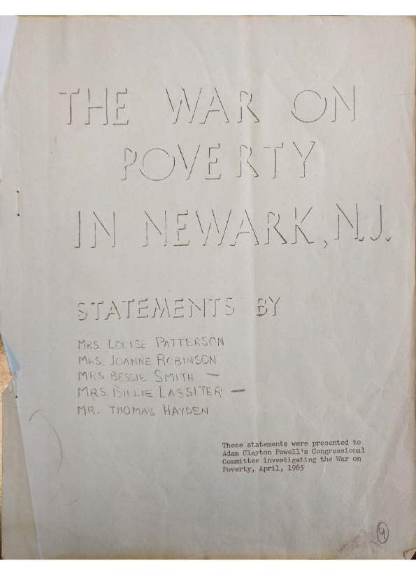 The War on Poverty In Newark
