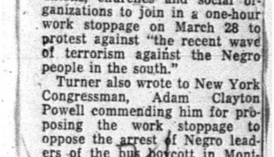 Turner Asks Protest on Alabama Case (Feb. 28, 1956)