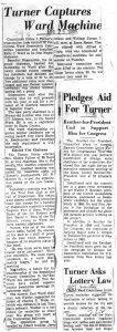 Clipping from an unmarked newspaper on April 26, 1959, reporting on Councilman Irvine Turner's takeover of the Central Ward Democratic Committee. -- Credit: Newark Public Library