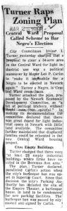 Clipping from an unmarked newspaper on March 25, 1956, reporting on Councilman Irvine Turner's criticism of urban renewal plans for the Central Ward. -- Credit: Newark Public Library