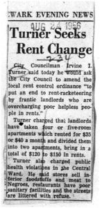 Clipping from an unmarked newspaper on August 24, 1956, reporting on Councilman Irvine Turner's advocacy of rent control policies. -- Credit: Newark Public Library