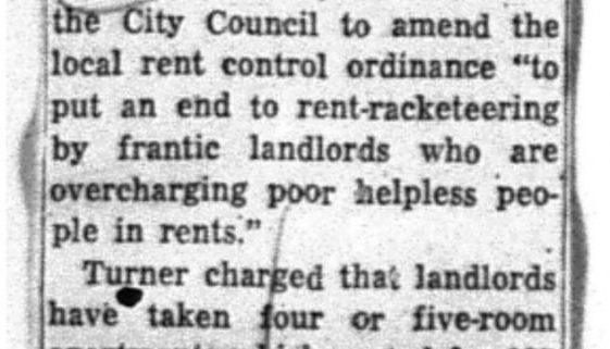 Turner Seeks Rent Change (August 24, 1956)