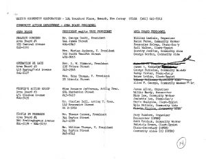 Roster of personnel for the nine Area Boards of the United Community Corporation (UCC) from June 29, 1967. The roster also lists Area Board representation in some of the UCC's Community Action Programs. -- Credit: Newark Public Library