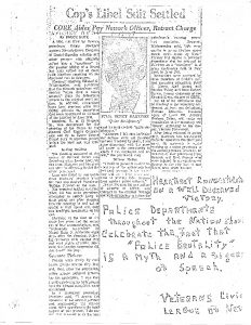 "This article from the Newark Evening News was turned into a flyer by the Veterans Civic League of Newark to celebrate the settlement of Newark Patrolman Henry Martinez's libel suit against civil rights leaders. Martinez filed suit against James Farmer, Robert Curvin, Fred Means, and others for ""libelous and slanderous"" statements made against him after the patrolman fatally shot Lester Long. The shooting of Lester Long and demands for a police review board were highly polarizing events along racial lines in Newark. The Veterans Civic League of Newark was one of several white reactionary organizations, including police unions and patrolmen, that sought to combat measures for police reform. -- Credit: Junius Williams Papers"