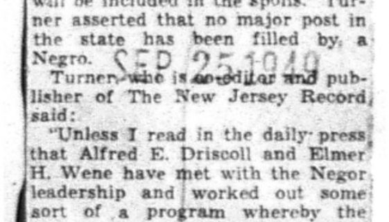 Wants NJ Plums Given to Negroes (Sept 25, 1949)