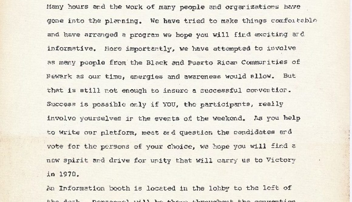 thumbnail of Welcome Letter to All Delegates and Guests (Black and Puerto Rican Political Convention)
