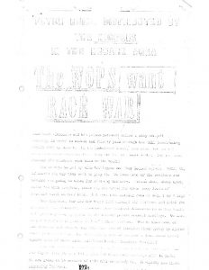 "Flyer distributed by white communities in Newark. The original flyer was titled ""The Wops want Race War,"" and was distributed primarily within the city's Black communities in response to white demands for police dogs after the 1967 Newark rebellion. Upon finding the flyer, someone within the white community added a new heading to the flyer and redistributed it in the white community."