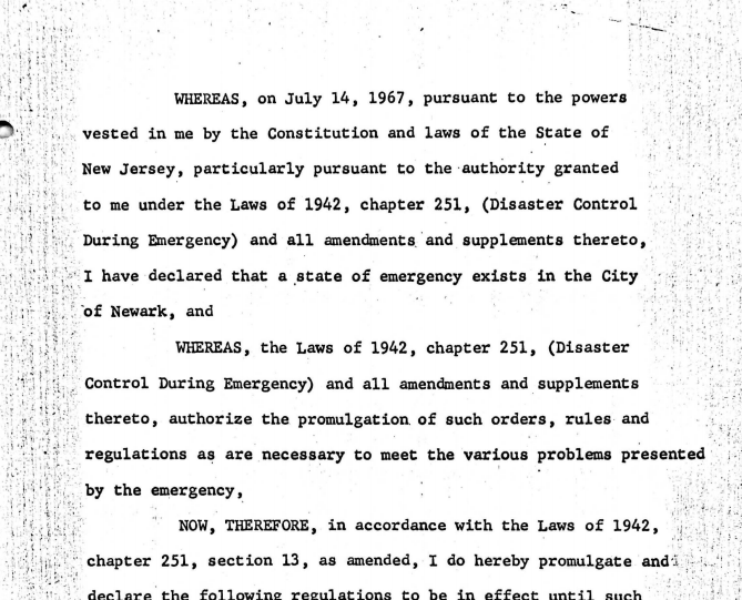 Proclamation of Governor Hughes on Emergency Regulations