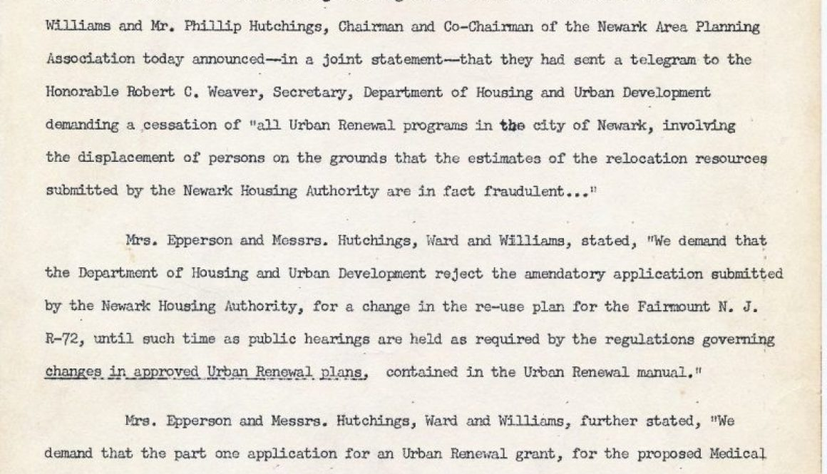 thumbnail of Committee Against Negro and Puerto Rican Removal Press Release, Nov 27, 1967- Telegram sent to Weaver demanding cessation of all urban renewal programs in Newark