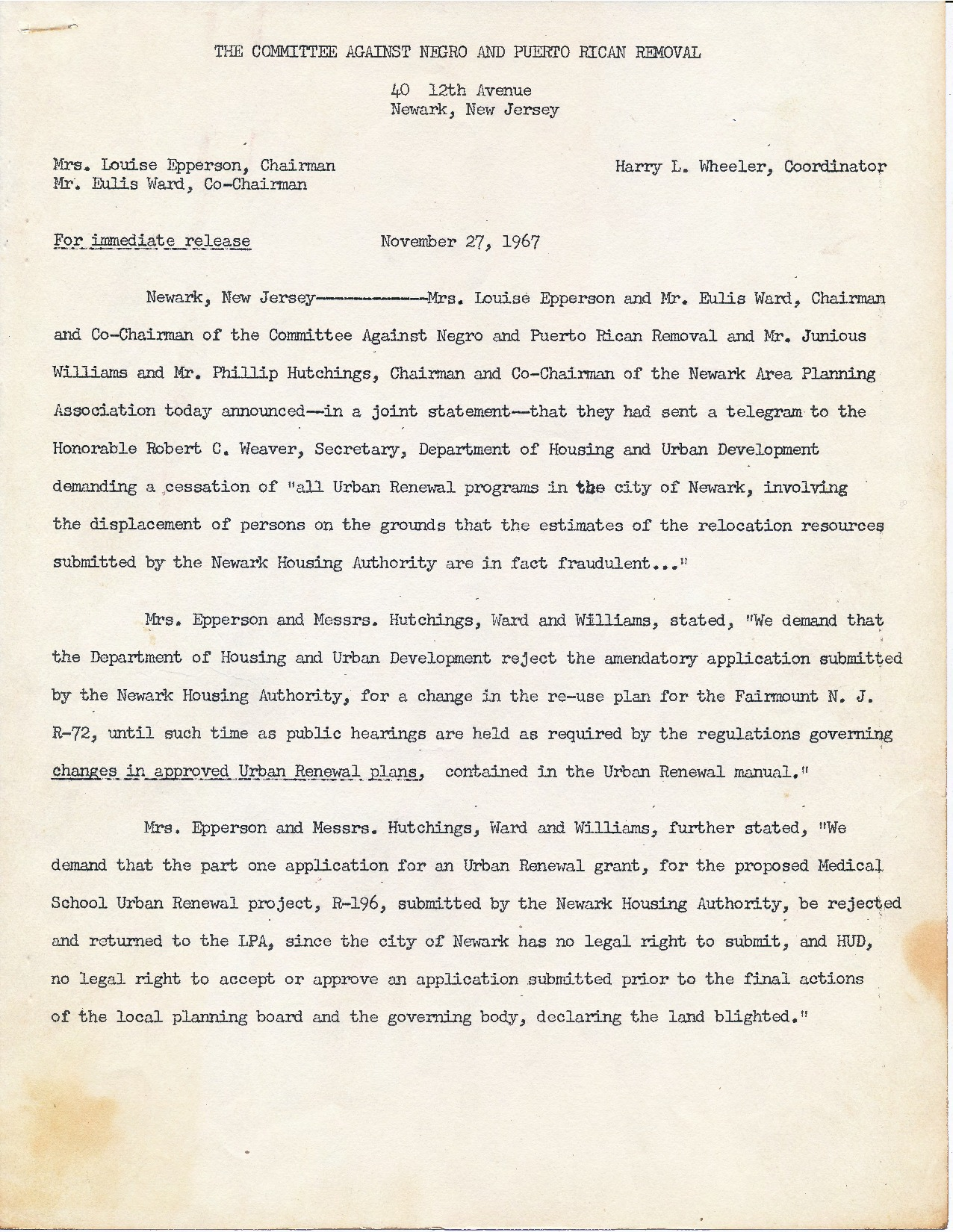 Letter from Committee Against Negro and Puerto Rican Removal
