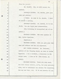 "Stenographic transcript of Louise Epperson's statement to the Central Planning Board on June 13, 1967 during the ""blight hearings."" These public hearings were held to determine if areas in the Central Ward were ""blighted"" so that the lands could be taken by eminent domain for the construction of the New Jersey College of Medicine and Dentistry. -- Credit:"