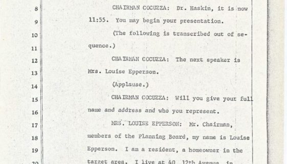 thumbnail of Transcript of Louise Epperson's Statement at Blight Hearing (June 13, 1967)