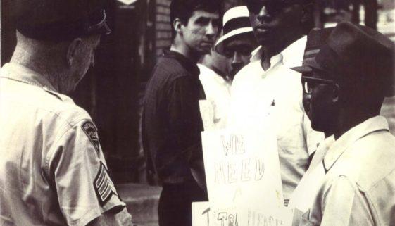 Tom Hayden and Junius Williams at Demonstration (1965)