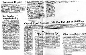 A collection of newsclippings from the Newark Evening News in the 1960s covering the political career of Larrie West Stalks. --Credit: Junius Williams Collection