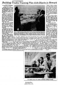 Article from the New York Times covering the Newark Construction Trades Training Council, which was formed after the Medical School Agreement to provide job training and placement for Black and Latino men on the construction project. James Walker, an executive director of NCTTC, is pictured in the photograph. --Credit: The New York Times