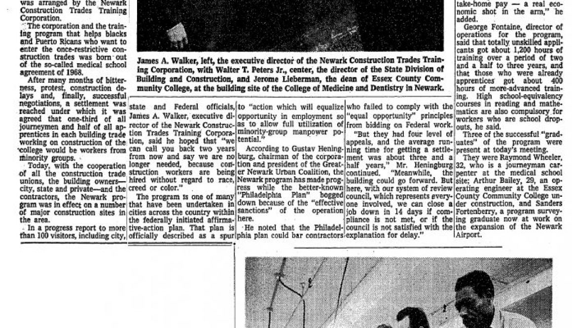 thumbnail of Building-Trades Training Plan Aids Blacks in Newark (Feb 17, 1973)