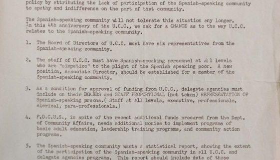 Demands of the Spanish Speaking Community of Newark to the UCC (Feb 5, 1969)